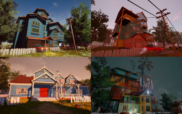 Hello Neighbor – todas las casas de las versiones alpha en 2016.